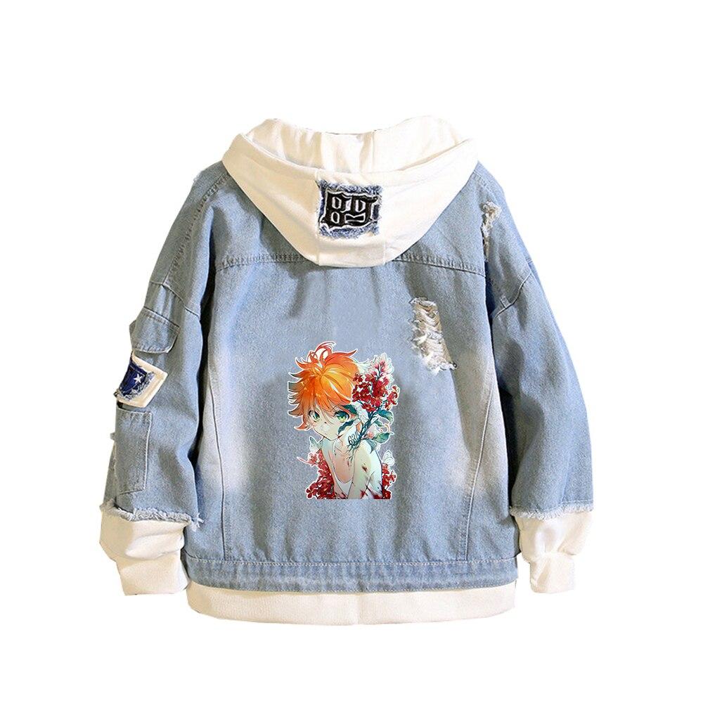 The Promised Neverland Unisex Demin Jacket Ray Emma Jeans Hoodies Spring Sweatshirt Harajuku Boys Streetwear Anime Couple Coats 5