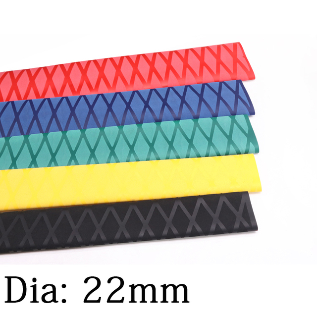 1M Dia 22mm antidérapant thermorétractable Tube canne à pêche enveloppement isolé anti-dérapant poignée raquette poignée manchon imperméable couverture multicolore