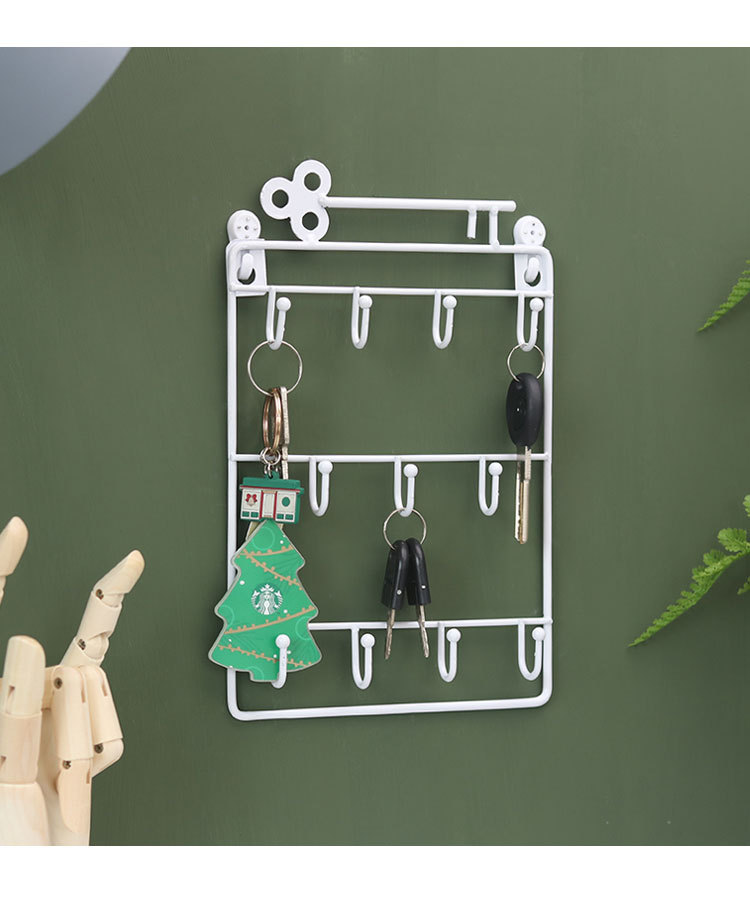 Lron Wall Mounted Hooks 12 Hangers Decorative Key Holder Metal Coat Hat Rack Home Decor Storage Organizer Key Holder Wall