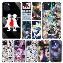 Coques pour iPhone 11 Pro Max SE 2020 X XS XR 8 7 6 6S Plus Coque de téléphone en verre trempé noir