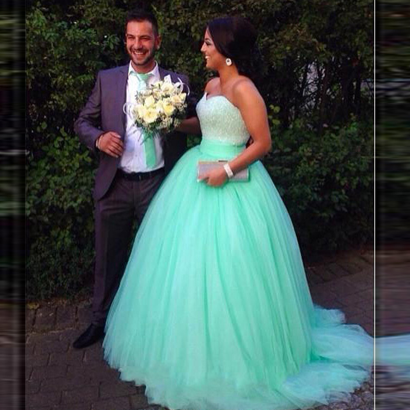 2018 Tulle Sweetheart Vestido Longo Mint Green Quinceanera Prom Bridal Gown Sequins Beaded Bodice Mother Of The Bride Dresses