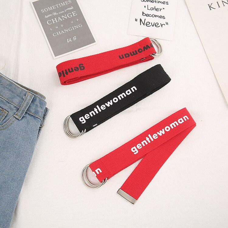 Canvas Letters Belts Cummerbunds Double Buckle Waist Belts Women's Casual 2019 Lucky Red Waistband 130cm Black White Plaid Belt