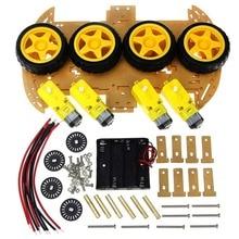 DC 3-6V TT motor 125 rpm 4WD Smart Robot Car Kit / Smart car wheels with Speed Encoder 4WD & Battery Box for Arduino DIY Kit недорого