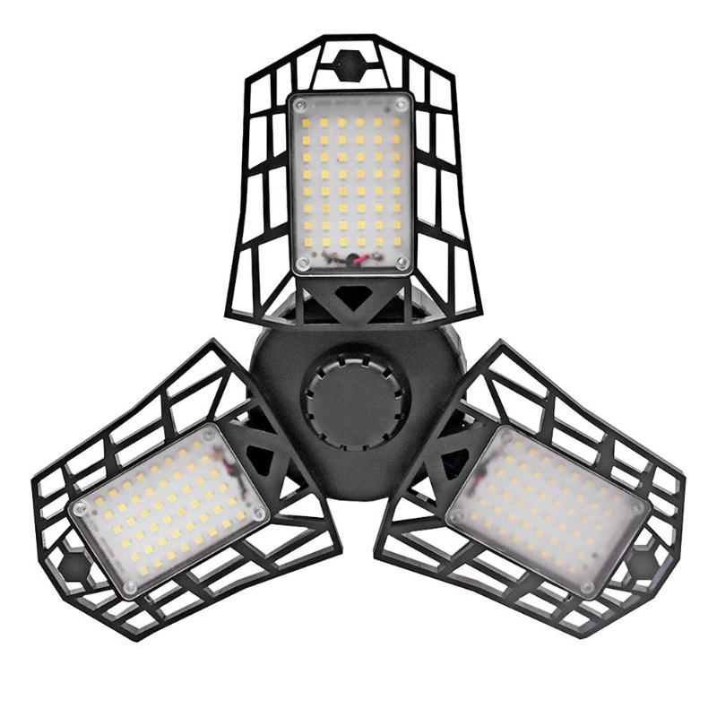 ALLOET E27 144LED Deformation UFO Folding LED Light 85-265V 60W High Bay Hanging Lamp Chandelier For Garage Warehouse Stadium