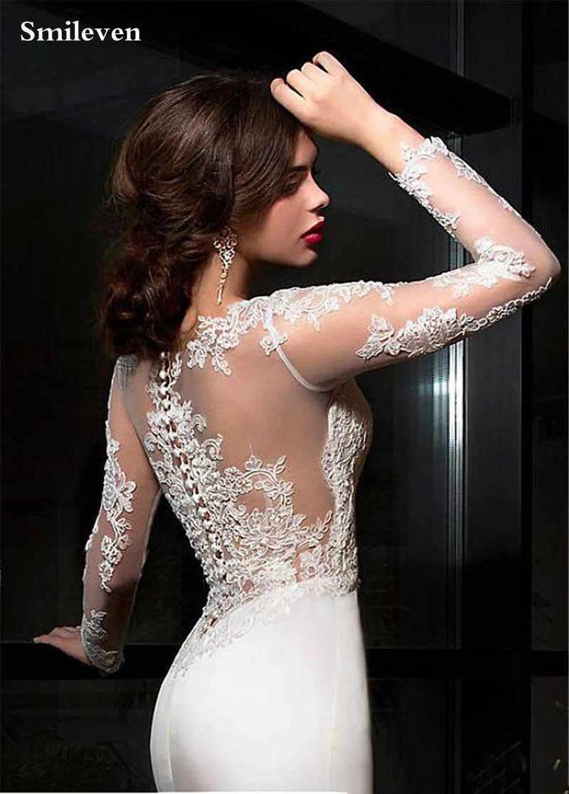 Smileven 2020 ชุดเดรสเมอร์เมดตุรกี Appliques ลูกไม้ Custom Made ชุดเจ้าสาวงานแต่งงานแขนยาวชุด vestidos de