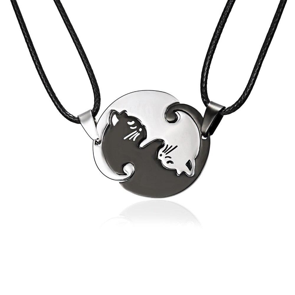 Couples Jewelry Necklaces Black white Couple Necklace Titanium Steel animal cat Pendants friends korean style women Necklace