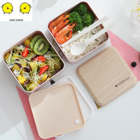 Lunch Box Food Container Bento Box Heated Lunchbox Kids Straw Wheat Student Plastic Lunch Box Baby Bowl Set