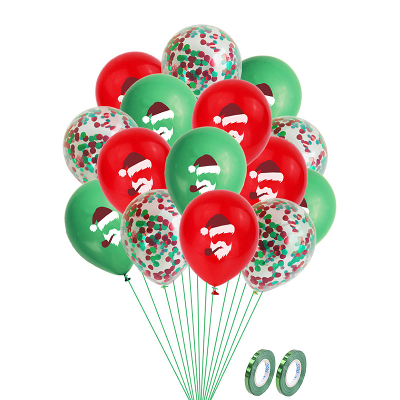 12inch Red Green Christmas Latex Balloon Santa Claus Air Balloon For New Year Party Decoration Merry Christmas Balloon Supplies image