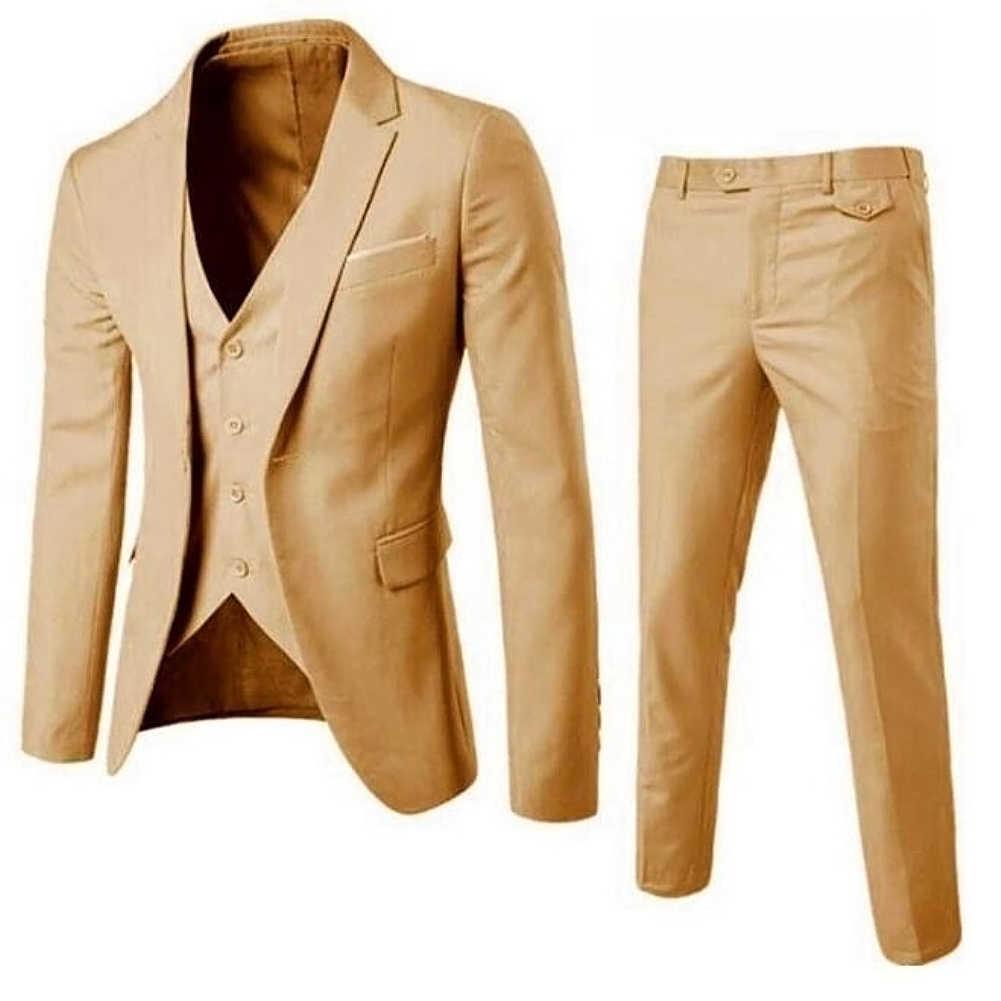 3 Stks/set Luxe Plus Size Mannen Pak Set Formele Blazer + Vest + Broek Past Sets Aziatische Grootte Voor Mannen 'S Wedding Kantoor Pak Set
