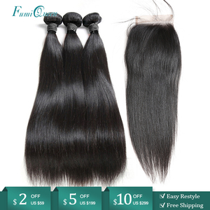 Ali FumiQueen włosów peruwiański włosów 3/4 sztuk wiązki z zamknięciem prosto Remy ludzki włos wiązki ludzkich włosów z 4x4 wolna część zamknięcie koronki