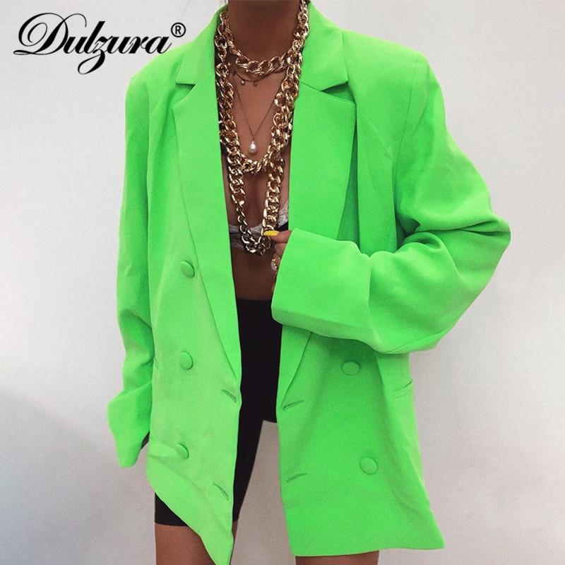 Dulzura Women Blazer Coats Causal Office OL Long Jacket Outwear Solid Pocket Slit Button Streetwear Clothes 2019 Autumn Winter