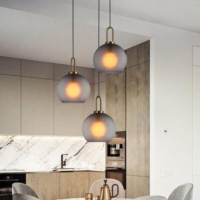 Postmodern Light Luxury Dining Room Lamp Northern Europe Creative Bar Bedroom Bedside Glass Ball Single Head Gray Chandelier