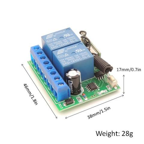 433MHz Universal Wireless Remote Control Switch 12V 10A  2CH rf Relay Receiver Wide range for Garage /Door/ Motor Controller Islamabad