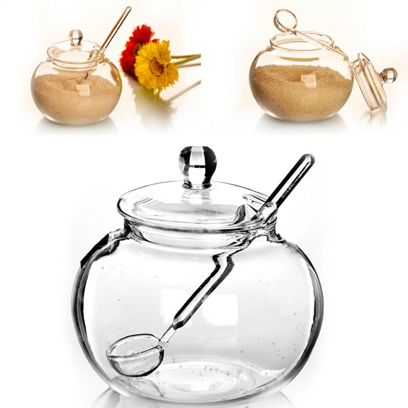 SOLEDI Бытовая Хрустальная 250 мл стеклянная банка конфетный сахар соль чаша для хранения приправ Saleros De Cocina для кухни и дома