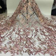 Красивые 3 D кружева аппликация цветок нигерийская кружевная ткань с Черными Блестками хорошо продают высокое качество кружева отделка платье