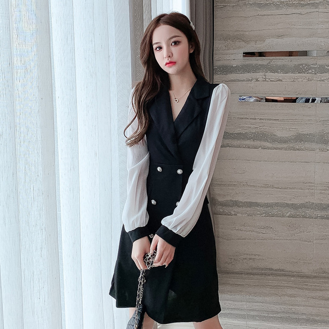 COIGARSAM Office Lady Full Sleeve Women one-piece dress korean New Spring Solid Notched Double Breasted Dresses Black 862 4