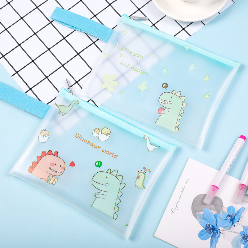 33.5*24cm/22*16.5cm Cute A5 A4 Document Bag Pvc Transparent File Cartoon Animal Dinosuar Storage Bags For School Office Supplies
