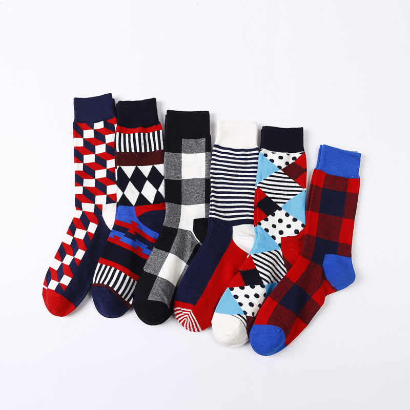 Vintage Happy Socks Men Classic Geometry Striped Plaid Funny Socks Women 2019 Fashion Colorful Cotton Long Couple Socks