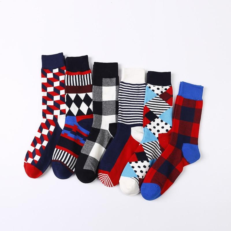 Vintage Happy Socks Men Classic Geometry Striped Plaid Funny Socks Women 2019 Fashion Colorful Cotton Long Couple Socks