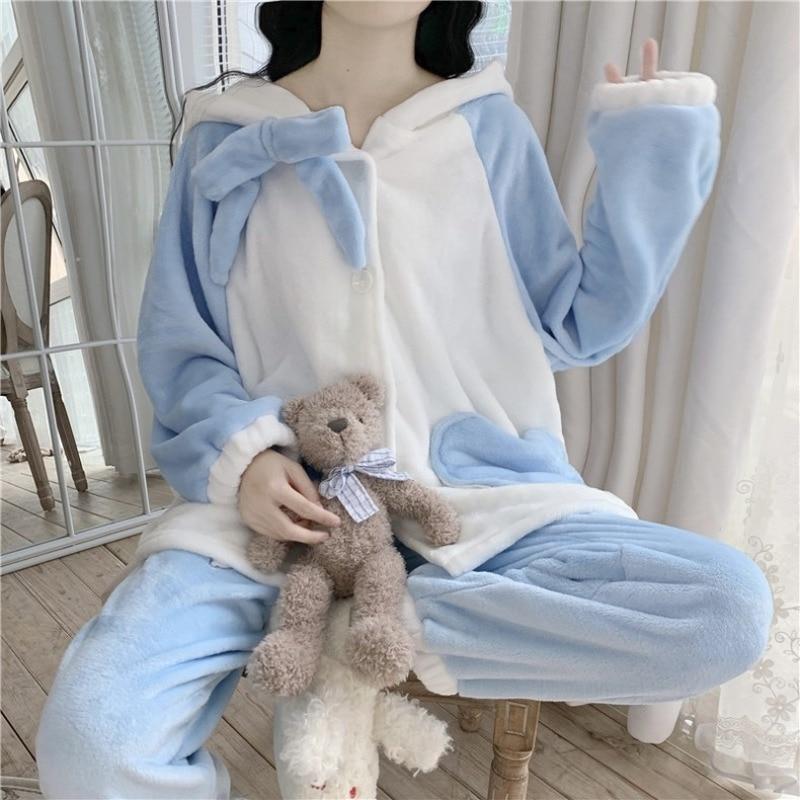 Kawaii Clothing Cute Bunny Pajamas for Women Loungewear Winter Flannel Pijamas Loose Casual Velvet Tops Pyjamas Woman Pj Set Hot