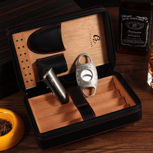 GALINER Cigar Set Travel Humidor Box Leather Cigar Humidor Case 3 Jet Flame Cigar Lighter Gas Metal Cigars Cutter W/ Humidifier(China)