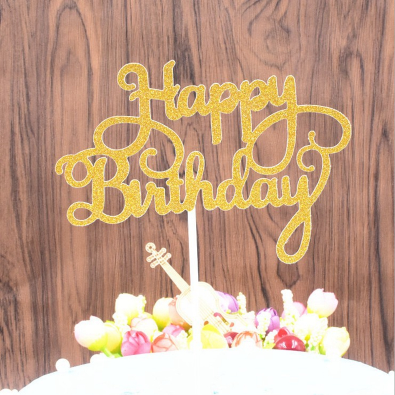 Happy Birthday Cake Toppers Party Supplies Shiny Acrylic Cake Topper For Birthday Cake Cupcake Party Cake Decoration Flag