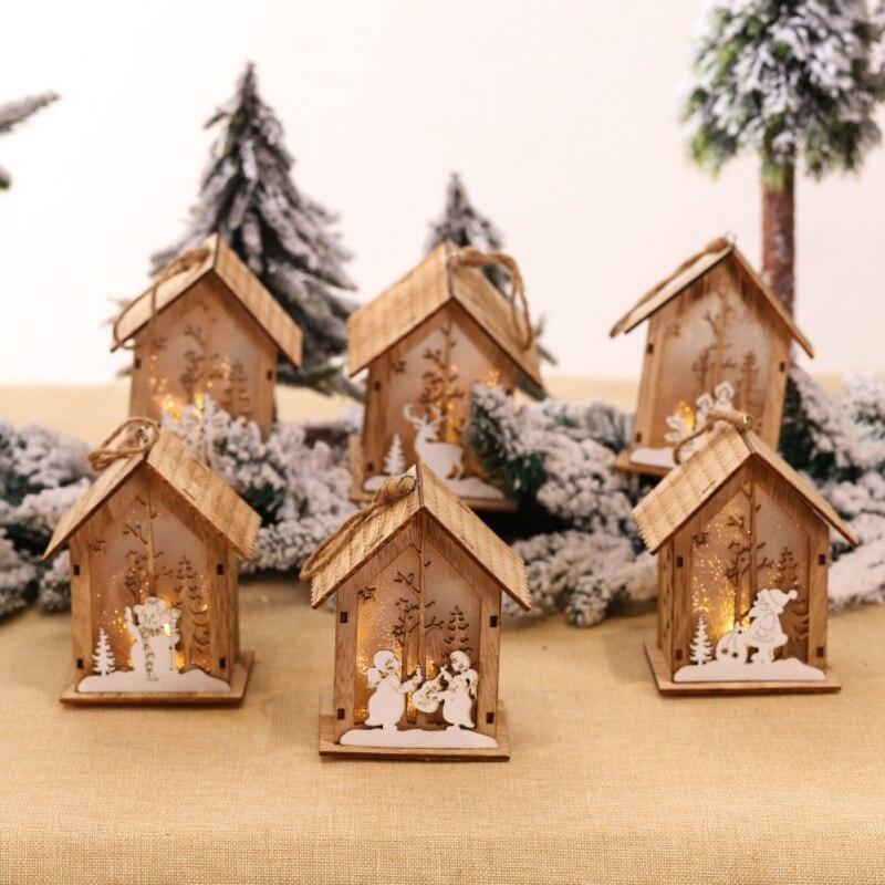 Рождественская Деревянная Рождественская освещенная сборка маленького домика Рождественская елка украшения светящийся домик висячий кулон Декор - 2