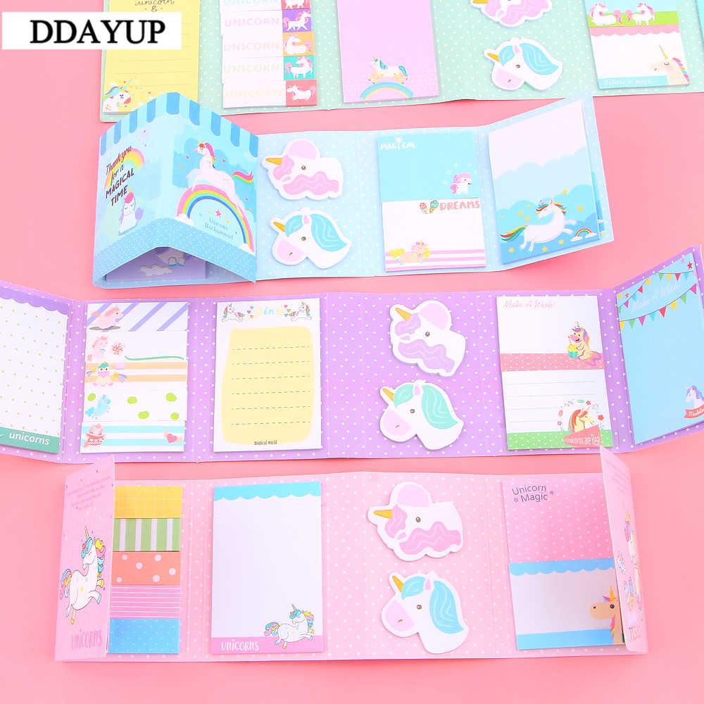 Belle fête de licorne mignonne 6 bloc-Notes pliant N fois Notes autocollantes mémo bloc-Notes signet cadeau papeterie