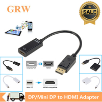 Grwibeou 4K 1080P Cable de DP a HDMI adaptador DP macho a HDMI hembra para PC portátil 4K 1080P Display Port a HDMI adaptador de Cable
