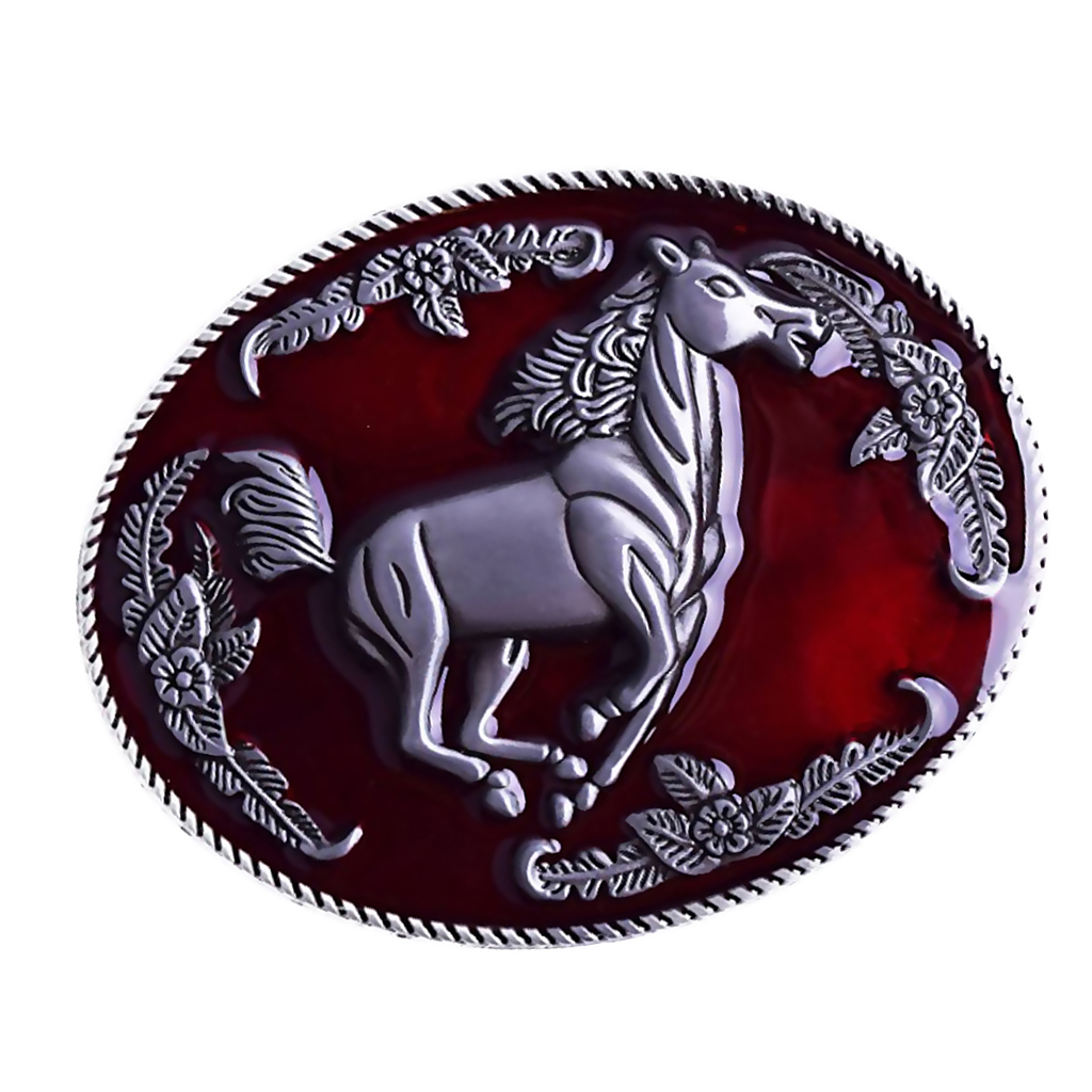 Red Running Horse Belt Buckle Western Hiphop Metal Rodeo Vintage Mens Buckle