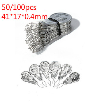 50/100pcs Bow Wire Needle Threader Stitch Insertion Machine Hand Sewing Thread Leading Tool Appr.41*17*0.4mm/1.61*0.66*0.01 image