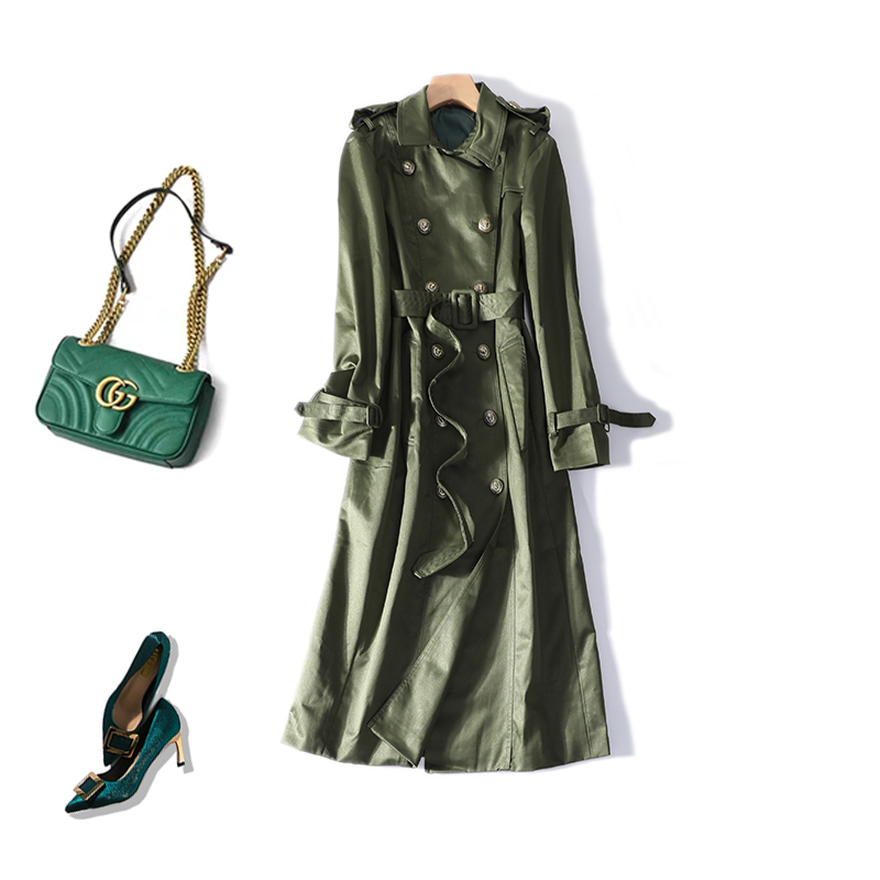 New star in same double breasted   trench   coat temperament cultivate morality female a9317 lace up coat