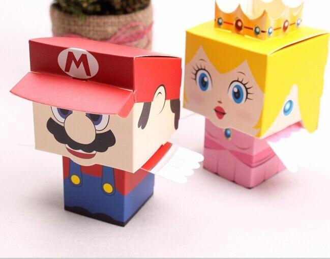 50 pièces/lot dessin animé Super Marie Bros princesse mariée et le marié faveurs de mariage Mario boîte à bonbons cadeaux de mariage