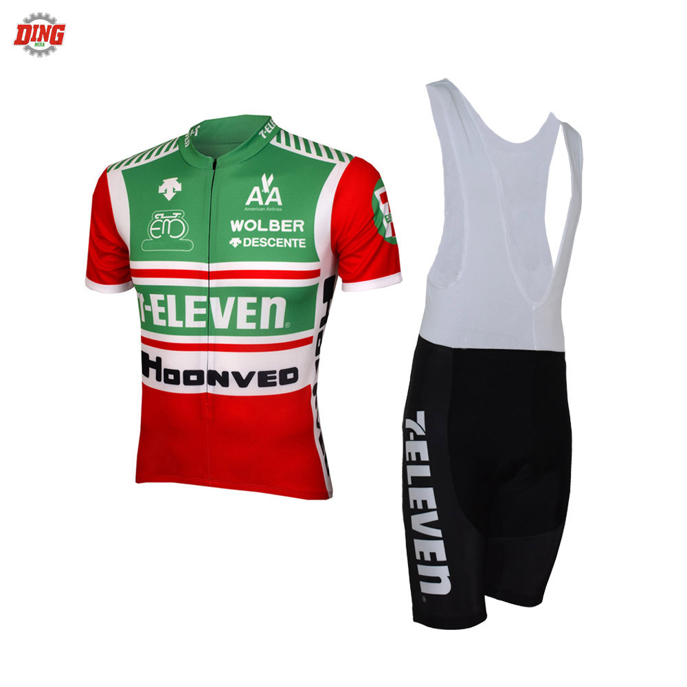 7-Eleven Retro Men Bib Short Sleeve Cycling Set Clothing Breathable Maillot Ropa