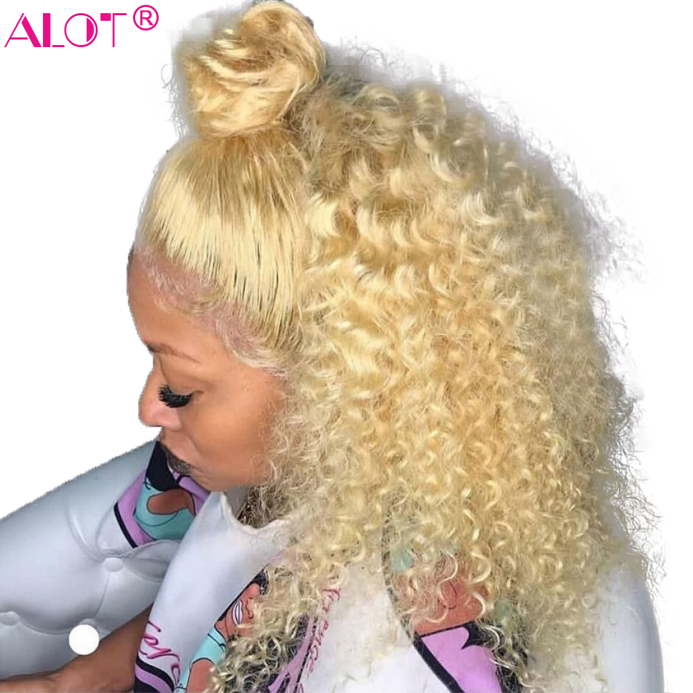 613 Blonde 13x4 Lace Bob Wigs 150% Brazilian Kinky Curly Remy Lace Front Short Human Hair Wig Pre Plucked With Baby Hair image