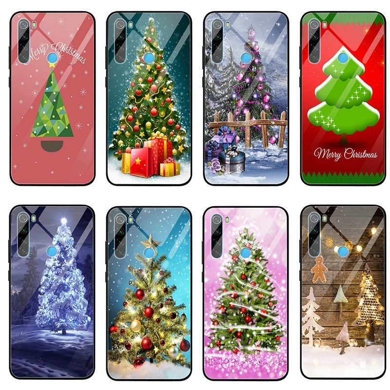 Merry Christmas Tree Tempered Glass Mobile Phone Cases for Xiaomi Redmi Note 4 4X 5A 5S 6X 7 7A 8 8A 9 SE A1 A2 Lite Plus Bags