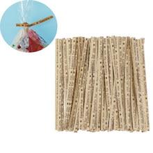 100 pces presente que envolve especialmente para você laços da torção para doces sacos ferramentas da festa