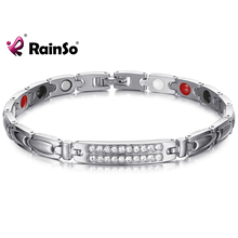 RainSo Magnetic Healthy Bracelet & Bangle for Women Promote metabolism Zircon Charm Chain Link Hologram Bracelet Healing Jewelry