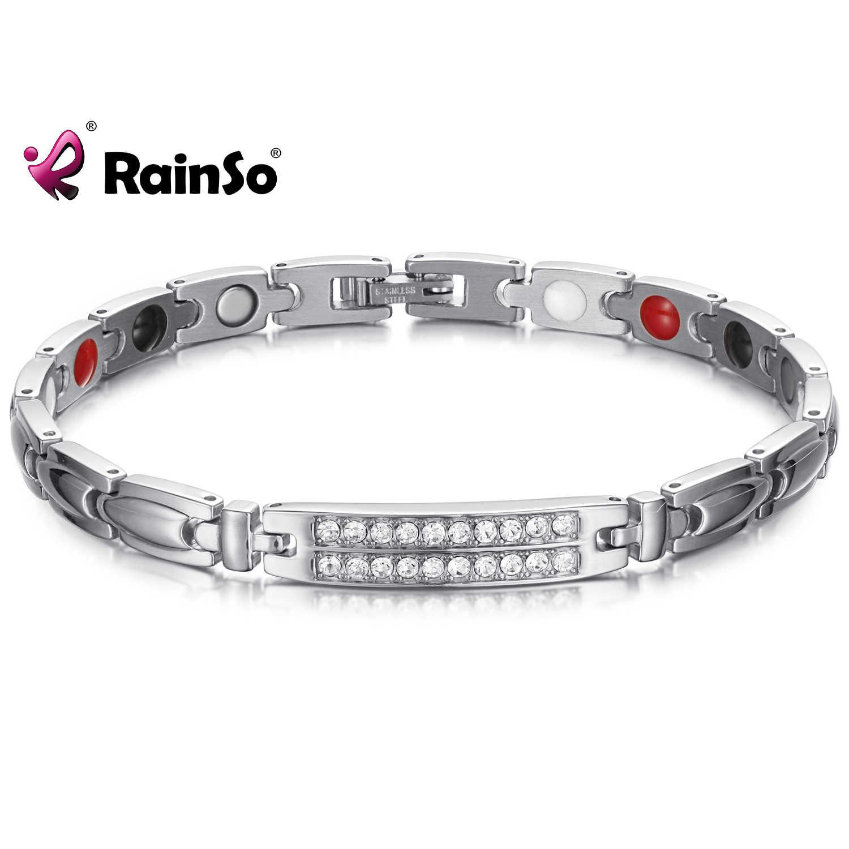RainSo 磁気健康ブレスレット & バングル女性代謝を促進ジルコンチャームチェーンリンクホログラムブレスレット治癒ジュエリー