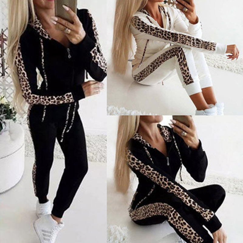 Woman Set  Hoodie Pants Tracksuit Autumn Winter Women Leopard Sportwear Casual Female Zipper Jogging Suit