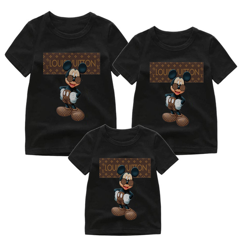 Mouse T-Shirts Family Matching Clothes  Mommy And Me Clothes Mickey Short Sleeve T-Shirt  Matching Outfits Shirt Boys Clothes