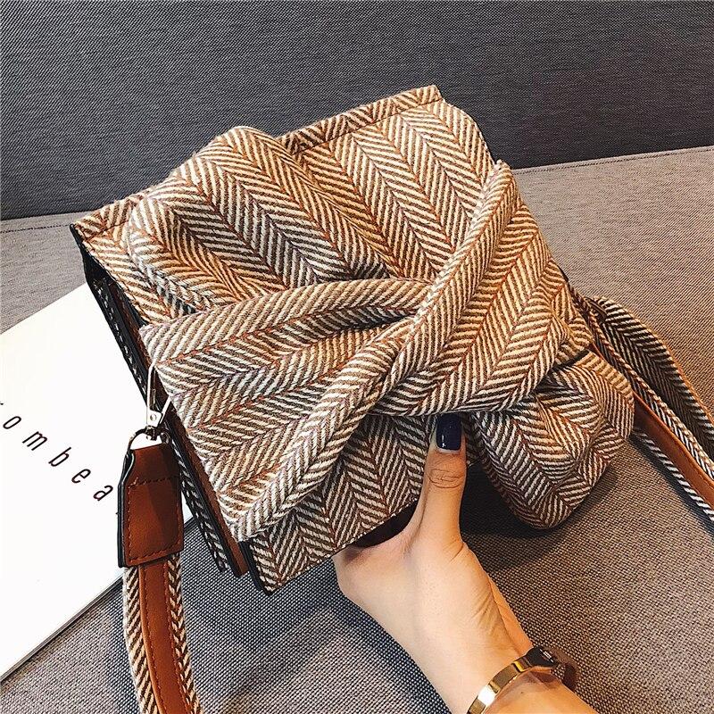 Fashion Woollen Plaid Women Shoulder Bags Designer Bow Messenger Bag Chic Striped Crossbody Bag Small Flap Ladies Purses 2019