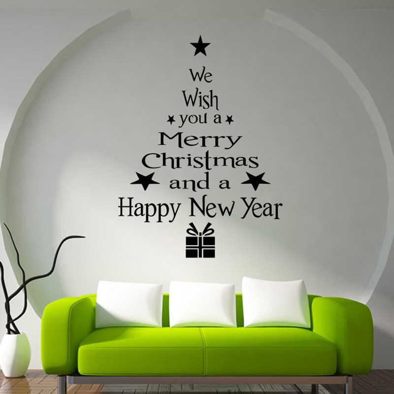 Sıcak Merry Christmas pencere duvar çıkartmaları posterler çıkartmaları su geçirmez nimet mutlu yeni yıl noel ağacı yıldız hediyeler ev dekor