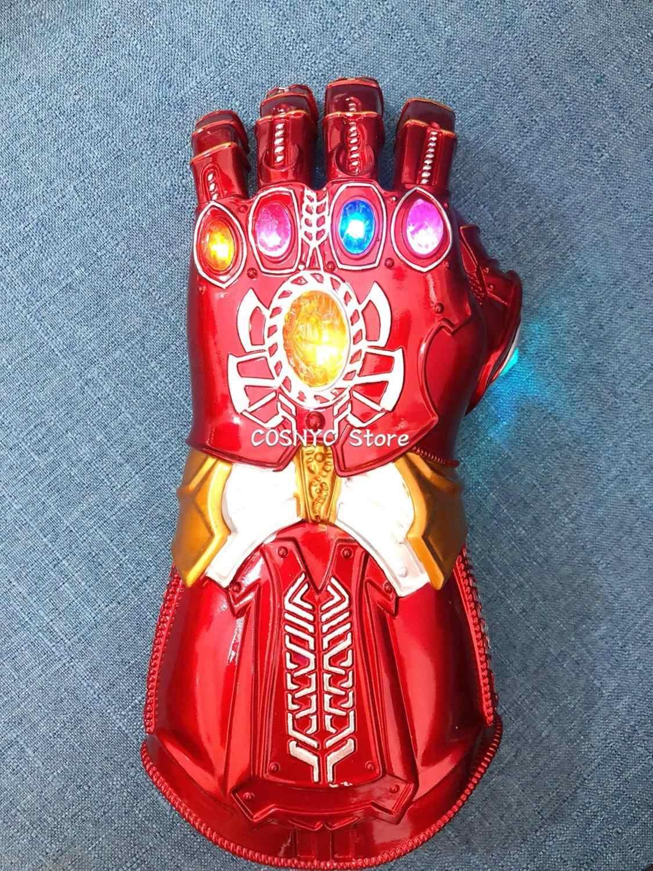 새로운 아이언 맨 어벤저 스 마블 슈퍼 히어로 엔드 게임 인피니티 건틀릿 코스프레 장갑 어벤저 스 타 노스 원석 모바일 LED 장갑 장난감
