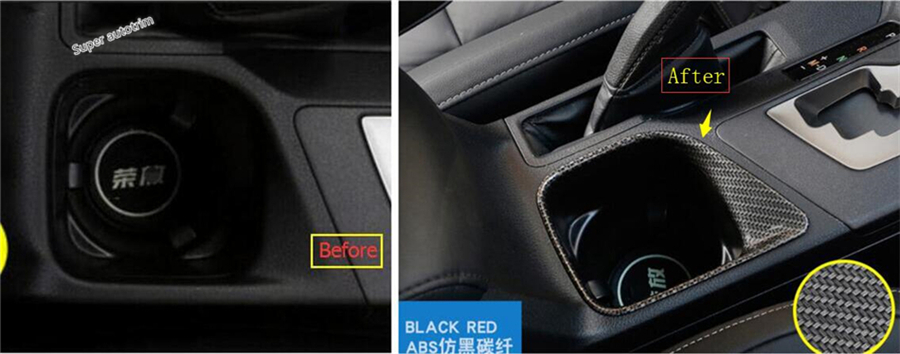 ABS Red Interior water cup holder frame cover trim for Chevrolet Camaro 2016