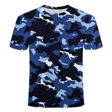 Camiseta de secado rápido para hombre de camiseta militar deportiva de manga larga con cuello redondo y camuflaje 3D