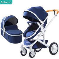 Belecoo bébé poussette haute paysage 2 en 1 bébé voiture deux voies bébé poussette pliant portable chariot