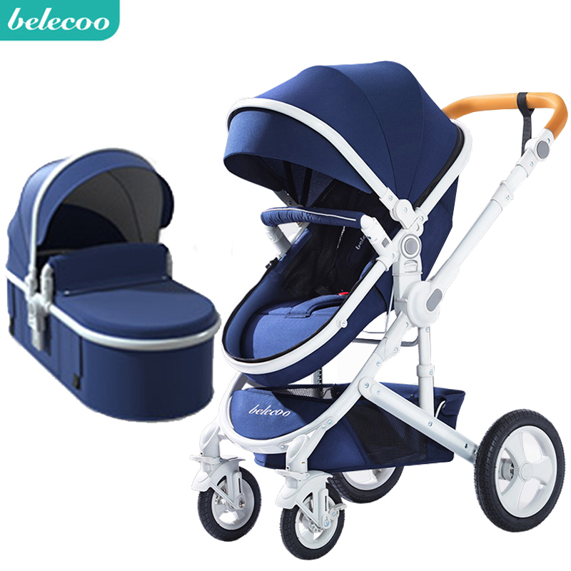 belecoo baby stroller High landscape 2 in 1 baby car two way baby stroller folding portable trolley image