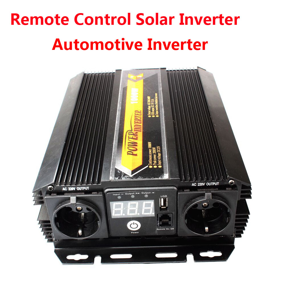 New 2017 Power <font><b>Inverter</b></font> Charger DC <font><b>12V</b></font> to AC 220V <font><b>1000W</b></font> Sine wave <font><b>inverter</b></font> Solar <font><b>inverter</b></font> remote control <font><b>inverter</b></font> image