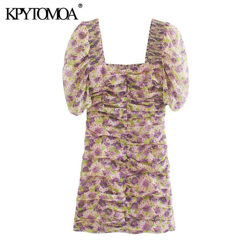 KPYTOMOA Women 2020 Chic Fashion Floral Print Draped Mini Dress Vintage Lantern Sleeve Back Elastic Pleated Female Dresses Mujer